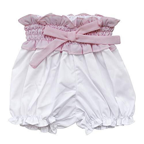 Carriage Boutique Baby Girl White Bloomer - White Short with Big Pink Bow and Elastic Waist, 6M