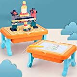 BETTINA 2 in 1 Block Activity Table & Magnetic Drawing Boards with 102 Pcs Blocks, Building Toys & Doodle Board for Kids...