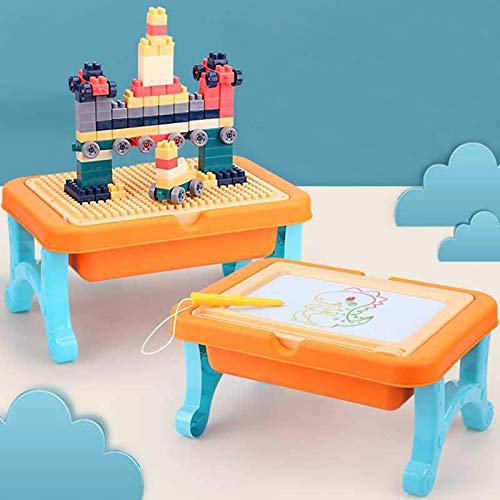 BETTINA 2 in 1 Block Activity Table & Magnetic Drawing Boards with 102 Pcs Blocks, Building Toys & Doodle Board for Kids (Orange)