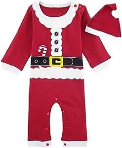 MOMBEBE COSLAND Mono Bebé Niño Manga Larga Disfraz Papá Noel Gorro (Papá Noel 2, 9-12 Meses)