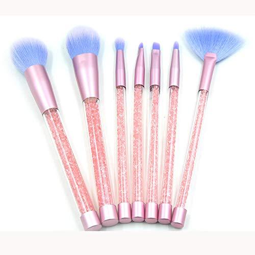 Terilizi7Pcs Diamond Handle Glitter Makeup Brush Set Shinny Foundation Blending Power Eyeshadow Cosmetic Beauty Make Up Tool Kit Pink