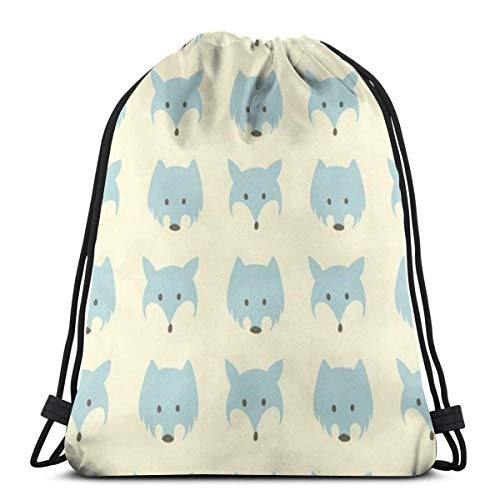 Rucksack Kordelzug Taschen Cinch Sack String Bag Plural Wolf und Fox Heads Sackpack für Beach Sport Gym Travel Yoga Camping Shopping School Wandern Männer Frauen