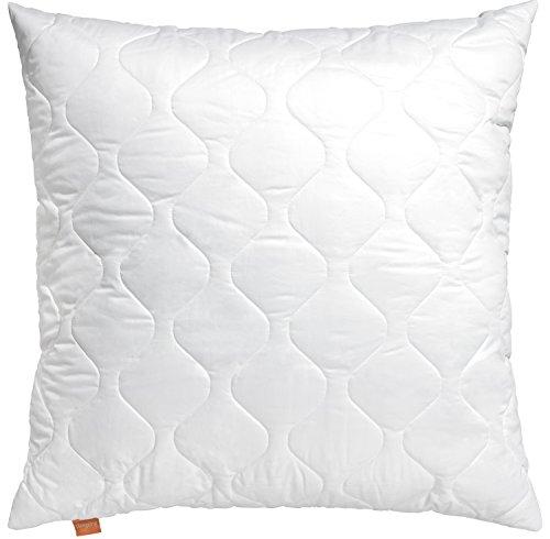 sleepling 190029 Komfort 300 Kopfkissen aus 100% Baumwolle Satin, Ökotex 100, 80 x 80 cm, weiß