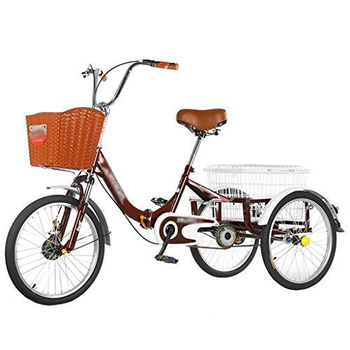 ZCXBHD Zusammenklappbar Dreirad für Erwachsene 3 Rad Fahrrad Dreirad mit Einkaufskorb Erwachsenendreirad Shopping für Senioren Einkaufen (Color : Wine Red)