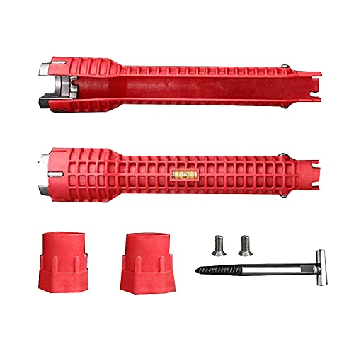 YEUIKERR Faucet And Sink Installer Tool,(8-in-1)Multi-Purpose Wrench Plumbing Tool for Household Water Pipe Faucet Angle Valve Sink/Bathroom/Kitchen (Red)