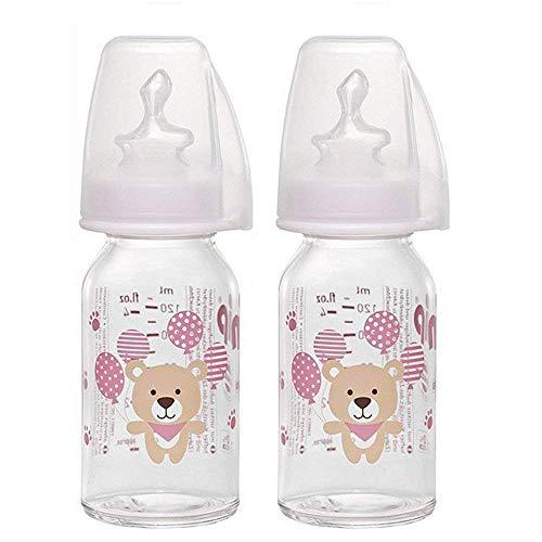 NIP Glas Flasche Girl // 2er Set // Glas-Babyflasche // Standardglasflasche 125 ml // Trinksauger Größe S (Silikon/Tee + Muttermilch/ab 0 Monate)