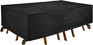 Patio Watcher 128 inches Rectangle Black Color Outdoor Furniture Set Covers Waterproof Durable Water Resistant Cover for Lawn, Porch, Yard, Garden