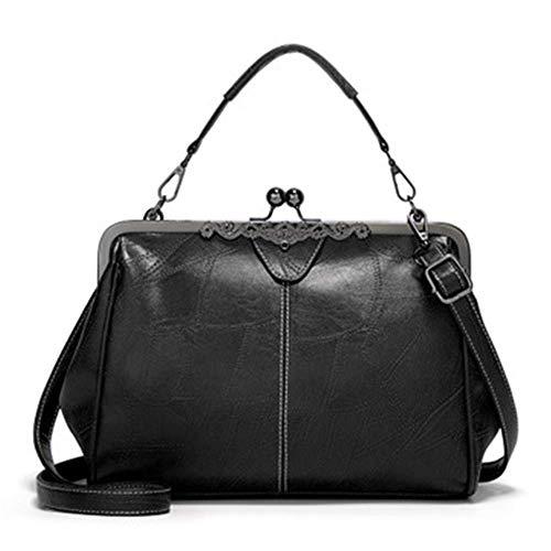 XYAZ Women's fashion simple all-match retro messenger bag college style clip portable shoulder bag,black