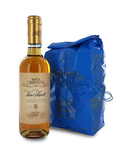 Scatola Regalo con Cantucci di Prato e Vin Santo, Biscotti: 500g / Vinsanto: 375ml