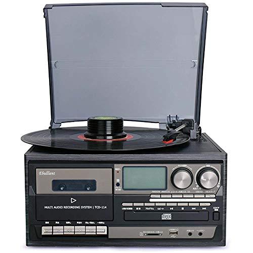 MQW Three-Speed Vinyl Phonograph Machine Modern Multifunction Tape Player CD Radio Remote Control Bluetooth USB Built-in Speaker (Color : Black)