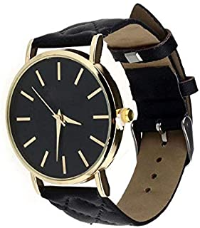Casual watch with a leather belt for women - black color