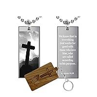 Romans 8: 28(ステンレススチール)聖書語句長方形pendant-necklace-medal
