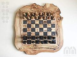 Schachspiel rustikal,Schachbrett Gr. XL inkl. Schachfiguren,Olivenholz,Handarbeit