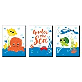 Big Dot of Happiness Under the Sea Critters - Nursery Wall Art and Kids Room Decorations - Christmas Gift Ideas - 7.5 x 10 inches - Set of 3 Prints