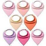 FUTURE FOUNDER 8er Baby Dreieckstuch Mädchen Lätzchen einfarbig Saugfähig Weich