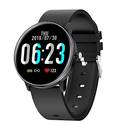 Fanuse Reloj Inteligente MX6 para Hombre y Mujer, Monitor de Ritmo CardíAco de 1.3 Pulgadas, Reloj Deportivo Weather IP68 para iOS Android, Negro