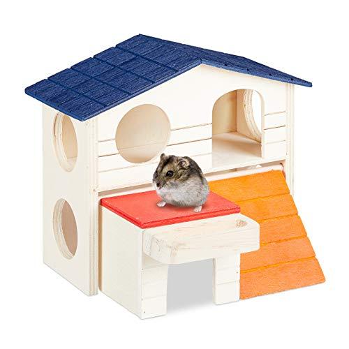 Relaxdays Hamsterhaus Holz, 2 Etagen, für Zwerghamster & Mäuse, kleines Hamsterhäuschen, HBT: 15 x 17 x 16,5 cm, bunt