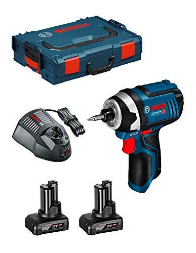 Bosch GDR 12V-105 Professional Visseuse à chocs sans fil + Boîtier L-Boxx + 2x Batteries GBA 12 V 6,0 Ah + Chargeur GAL 1230