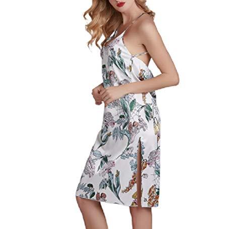 Bedgown Vrouwelijke Vrouw Zijde Zachte Lente Zomer Herfst Dunne Sectie Beroep Backless Rok pyjama pyjama ' s/Nachtjapon pak Prachtige verschijning XL Kleur: wit