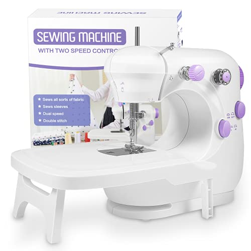 Sewing Machine, Portable Sewing Machine with Built-in Stitches, Mini Sewing Machine with Extension Table, Suitable for Beginners, Best Gift for Kids and Women, Space Saver