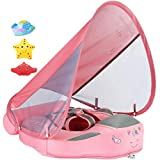 V Convey 2020 Newest Size Improved Add Tail Never Flip Over Mambobaby Non-Inflatable Float Swim Trainer Relaxing Baby Float Infant Pool Float with Canopy Solid Waist Swimming Ring Sunshade