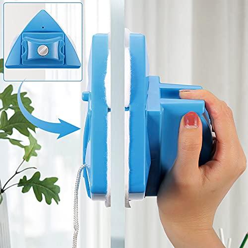 InLoveArts Limpiador de Cristal de Doble Cara Limpiador de Ventana magnético 5 Archivos Cepillo de Limpieza Ajustable para Doble acristalamiento de Gran Altura con Grosor de 4-28 mm (Azul)