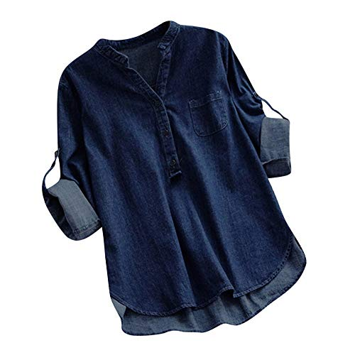 LOPILY Jeansbluse Damen Verstellbare Ärmel Langarm Tunika mit Knopfleiste Denim Shirt Kurzarm Damen Jeans Hemd Hellblau Dunkelblau Jeansshirt Lässiges Oberteil Jeans (Dunkelblau, 42)