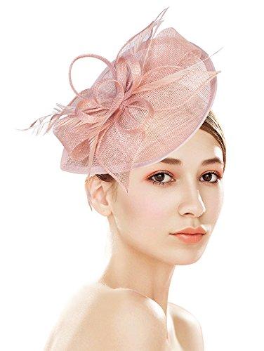 Z&X damen sinamay fascinator pillboxhut stirnband haarclip für cocktail-tee-party fee größe rosa