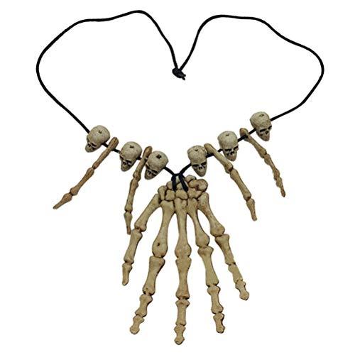 Amosfun Schädel Anhänger Halskette Skelett Kopf Hand Knochen Charme Cosplay Phantasie Partei Schmuck