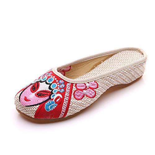 AWSAYS 2019 Madame Beau Visage Brodé Chaussures De Broderie De Lin De Style Ethnique Traditionnel Pantoufles Oxford
