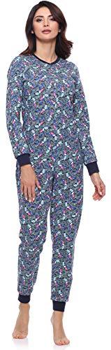 Merry Style Pijama Entero Una Pieza Ropa de Cama Mujer MS10-175 (Azul Marino/Tucan, XXL)