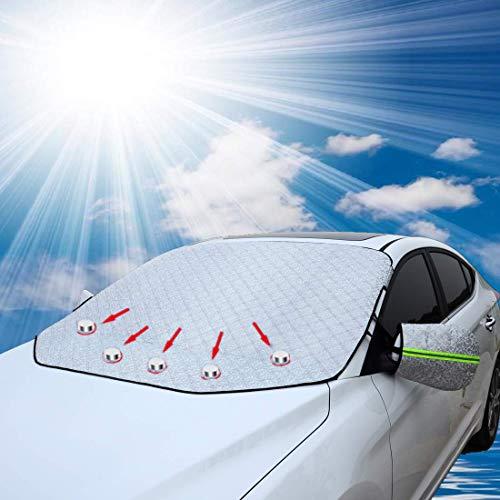 FEZZ Auto Frontscheibe Frostscheibe Schneeabdeckung Winterabdeckung Scheibenabdeckung Sonnenschutz mit Seitenspiegelabdeckung Magnetisch Größe 147 * 126cm für Sedan Auto klein SUV