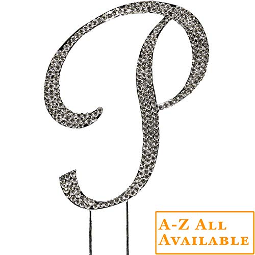 Letter P Cake Topper - Letters Cake Toppers (A-Z Available) - Initial Wedding Cake Toppers, Monogram Cake Topper Letters, Silver Rhinestone Bling Cake Topper for Wedding, Birthday