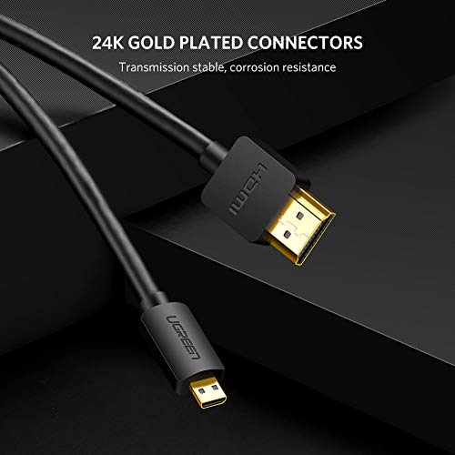UGREEN Micro hdmi hdmi Kabel Micro hdmi Kabel auf hdmi mit Ethernet, Ultra HD 4K, 3D und ARC, hdmi D auf hdmi A Kabel kompatibel mit Raspberry Pi 4, Gopro Hero 5/6/7, Lenovo Miix 310 usw (3m)