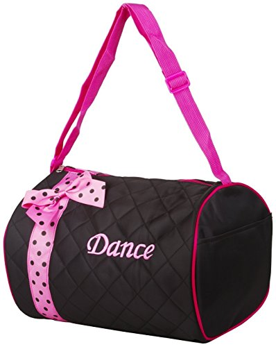 Private Label Girl's Quilted Nylon Dance Duffle Bag with Pink Polka Dot Bow, Black