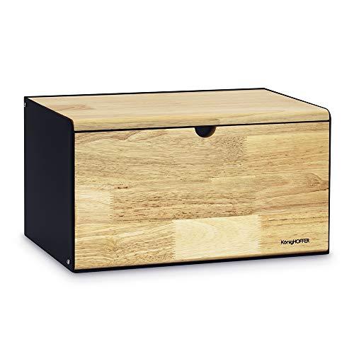 Konighoffer Brotbox Brotkasten Brotkiste Holz Edelstahl Brotkorb Vitrum 35,5 x 21,5 x 19,5 cm