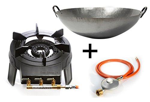 Wokbrenner Set/Gaskocher 9,2 KW mit Gasschlauch + Druckminderer + 45 cm Stahl Asia-Wokpfanne (Gusseisen Hockerkocher, Asia Kocher, Gastrokocher, Gasherd, Campingkocher für Wok)