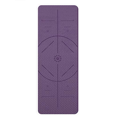 WXHXSRJ Alfombra de yoga respetuosa con el medio ambiente, con líneas de alineación, antideslizante TPE Yoga Mat, para yoga, pilates y fitness, morado oscuro