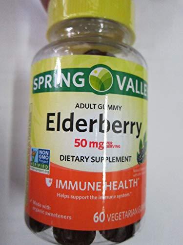 Spring Valley Adult Elderberry 50 mg Immune Health, 60 Gummies (Pack of 2)