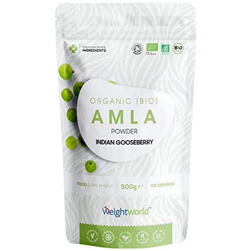 Amla Polvere Capelli e Pelle 500g - Ayurveda Prodotti - Integratore Alimentare Bio 100% Naturale Adatto a Vegani e Vegetariani - Senza Lattosio e Senza Glutine - Certificato dalla Soil Association