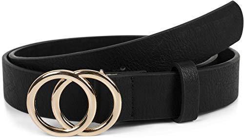styleBREAKER cinturón de mujer monocolor con hebilla de anillo, cinturón para la cadera, cinturón para la cintura 03010093, tamaño:80cm, color:Negro-oro