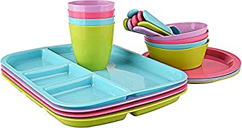 24 pc Kids Dinner Set by Mainstays BPA free Microwave/dishwasher safe toddler snack/meals mixed colors