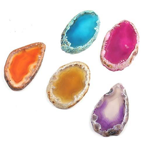 ERTERT 5 unids Natural Onyx Charms Colgantes Multi Colorido Rebanado Agates Irregulares Colgante de Cuarzo de Piedra para la joyería Que Hace Collar
