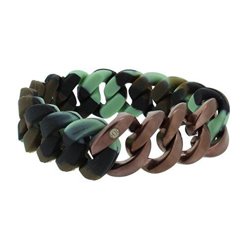 Hanse-Klunker Armband Herren ORIGINAL Silikon Muster Camouflage, Edelstahl Bronze Matt Armreif Armkette Männer Jungen inkl. Schmuck-Geschenk-Box