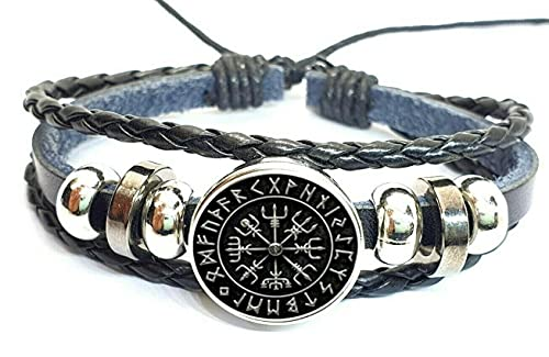 Vikings Runas Pulsera unisex de piel hecha a mano Odin Viking Norse Wristband Hrungnir Viking Cuff Pulseras amuleto joyería para hombres y mujeres, 18 cm - 26 cm