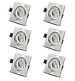 LED Einbaustrahler ultra flach Warmweiß inkl. 6 x 6W LED Modul 230V 500LM - Schwenkbar Einbauleuchten Eckig Edelstahl Gebürstet
