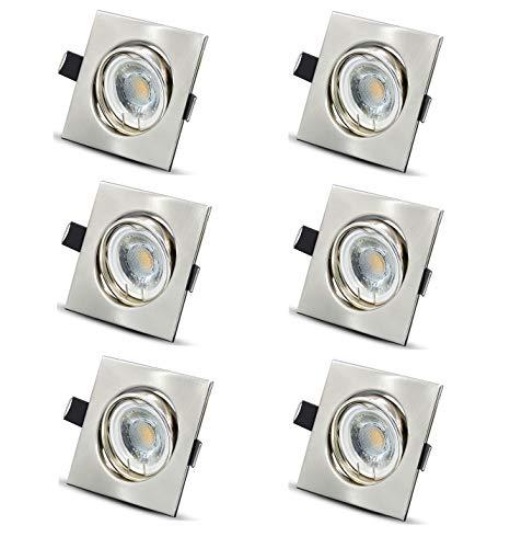 Foco LED ultraplano blanco cálido, incluye 6 módulos LED de 6 W, 230 V, 500 lm, orientable, empotrable, cuadrado, de acero inoxidable cepillado
