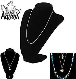 Adorox Black Velvet Necklace Pendant Chain Jewelry Bust Display Holder Stand (1, Black)