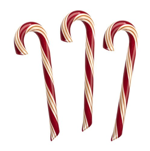 3 Natural Mint Candy Canes, NO Corn Syrup, Hammonds Handmade, 2 Oz, Red/Gold/White Stripe