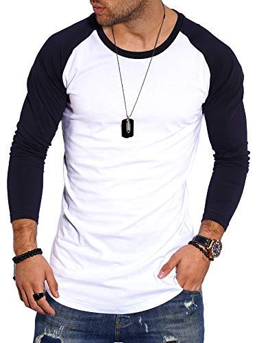 behype. Herren Oversize Longsleeve Langarm T-Shirt O-Neck Rundhals Ausschnitt 30-3752 Weiß-Navy XL